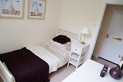 A bedroom in a show flat of a warden aided complex for older people,