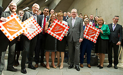 Pictured:  Patrick Harvie, Willie Rennie, Kim Leadbeater, Nicola Sturgeon and Jackson Carlaw<br /> <br /> Kim Leadbeater was in the Scottish Parliament today tol thank all Scotland's party leaders for putting their disagreements to one side and coming together to support stronger communities in memory of her sister, Jo Cox, who was murdered three years ago.<br /> <br /> <br /> Ger Harley | EEm 2 May 2019
