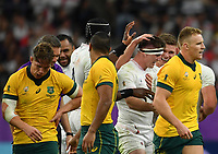 Rugby Union - 2019 Rugby World Cup - Quarter-Final: England vs. Australia<br /> <br /> England's Tom Curry congratulated as he forces a turn over, at Oita Stadium, Oita Prefecture.<br /> <br /> COLORSPORT/ASHLEY WESTERN