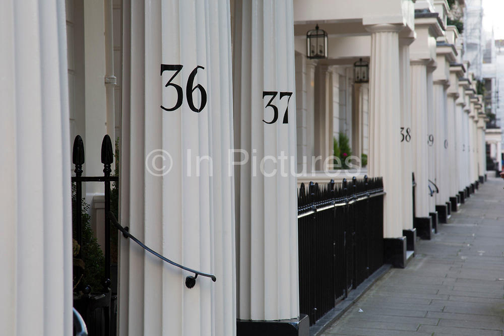 Architecture in Belgravia London, United Kingdom. Belgravia is a district in West London in the City of Westminster and the Royal Borough of Kensington and Chelsea. It is noted for its very expensive residential properties and is one of the wealthiest districts in the world. Much of it, known as the Grosvenor Estate, is still owned by a family property company, the Duke of Westminsters Grosvenor Group.