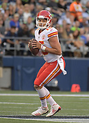 Aug 25, 2017; Seattle, WA, USA; Kansas City Chiefs quarterback Patrick Mahomes (15) carries the ball against the Seattle Seahawks during a NFL football game at CenturyLink Field. The Seahawks defeated the Chiefs 26-13.