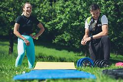 Anamarija Lampic  with Bostjan Klavzar during her modified practice process due to Corona-19 virus restrictions, 26 of May, 2020, Valburga, Medvode, Slovenia. Photo By Grega Valancic / Sportida