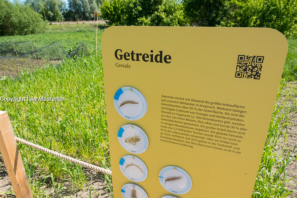 Cereal crops planting area at IGA 2017 International Garden Festival (International Garten Ausstellung) in Berlin, Germany