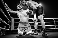 Ultimate bare-Knuckle boxing competition at Manchester's Bowlers Exhibition Centre, Old Trafford, Manchester, UK.<br /> Photo shows Andy Roberts (dark shorts) who won his fight against Danny Leadbetter.<br /> Photo ©Steve Forrest/Workers' Photo