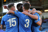 Celebrations during the FA Cup fixture between Stockport County and Corby Town at Edgeley Park on 6 October 2018 / James Gill Media