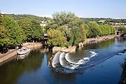 Boats and weir River Avon, Bath, England