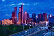 Philadelphia skyline, 2021, Sunset afterglow