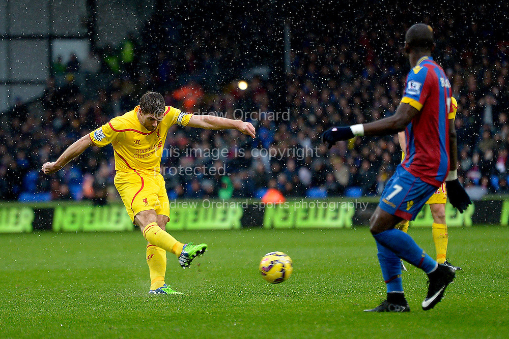 Steven Gerrard of Liverpool taking a shot. Barclays Premier league match, Crystal Palace v Liverpool at Selhurst Park in London on Sunday 23rd November 2014.<br /> pic by John Patrick Fletcher, Andrew Orchard sports photography.