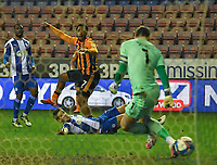 Hull City's Mallik Wilks scores his sides 1st goal<br /> <br /> Photographer Dave Howarth/CameraSport<br /> <br /> The EFL Sky Bet League One - Wigan Athletic v Hull City - Wednesday 17th February 2021 - DW Stadium - Wigan<br /> <br /> World Copyright © 2021 CameraSport. All rights reserved. 43 Linden Ave. Countesthorpe. Leicester. England. LE8 5PG - Tel: +44 (0) 116 277 4147 - admin@camerasport.com - www.camerasport.com