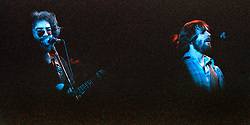 Jerry Garcia & Bob Weir performing with The Grateful Dead. Live in Concert at The Springfield Civic Center on 23 April 1977. Solo Shot in Bright Blue Light.