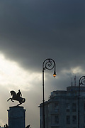 Low angle view of statue of Antonio Maceo under storm cloud, Havana, Cuba