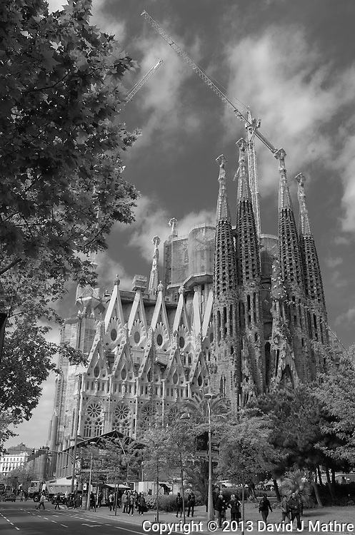 Sagrada Familia Cathedral in Barcelona, Spain. Image taken with a Leica X2 camera (ISO 100, 24 mm, f/16, 1/80 sec). In camera B&W.