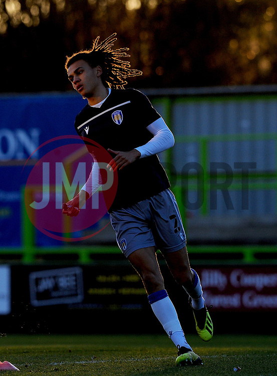 Miles Welch-Hayes of Colchester United warms up prior to kick-off- Mandatory by-line: Nizaam Jones/JMP - 27/02/2021 - FOOTBALL - The innocent New Lawn Stadium - Nailsworth, England - Forest Green Rovers v Colchester United - Sky Bet League Two