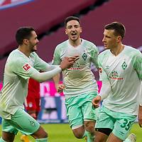 21.11.2020, Allianz Arena, Muenchen, GER,  FC Bayern Muenchen SV Werder Bremen <br /> <br /> <br />  im Bild Jubel nach dem Tor zum 0-1 durch Maximilian Eggestein (SV Werder Bremen #35) mit Leonardo Bittencourt (SV Werder Bremen #10) Kevin Moehwald (SV Werder Bremen #6) <br /> <br /> <br /> <br /> Foto © nordphoto / Straubmeier / Pool/ <br /> <br /> DFL regulations prohibit any use of photographs as image sequences and / or quasi-video.