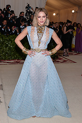 Katharine McPhee walking the red carpet at The Metropolitan Museum of Art Costume Institute Benefit celebrating the opening of Heavenly Bodies : Fashion and the Catholic Imagination held at The Metropolitan Museum of Art  in New York, NY, on May 7, 2018. (Photo by Anthony Behar/Sipa USA)