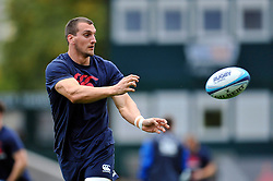 Sam Warburton (Blues) passes the ball during the pre-match warm-up - Photo mandatory by-line: Patrick Khachfe/JMP - Mobile: 07966 386802 29/08/2014 - SPORT - RUGBY UNION - Leicester - Welford Road - Leicester Tigers v Cardiff Blues - Pre-Season Friendly