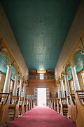 Interior of Church of Vilupulli on Chiloe Island, Chile