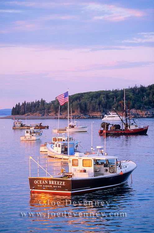 Bar Harbor in the morning as seen from the town wharf. Bar Harbor, Maine