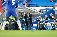 José Mourinho, the Chelsea Manager shouts at this players from the touchline. Barclays Premier league match, Chelsea v Manchester Utd at Stamford Bridge Stadium in London on Saturday 18th April 2015.<br /> pic by John Patrick Fletcher, Andrew Orchard sports photography.