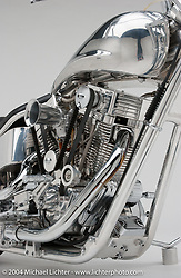 """""""Aluminum Ohc Evo,"""" built by Arlen Ness featuring one of Arlen's early overhead-cam motors which he built from desgins made for him by Pete Ardema. Appears in book """"The King of Choppers,"""" by Michael Lichter and Arlen Ness and foreward by Sonny Barger."""