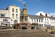 War memorial in town centre of Chepstow, Monmouthshire, Wales, UK