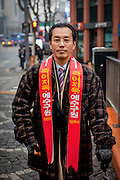 Portrait of a Christian preacher on the streets of the Korean capital Seoul, South Korea.
