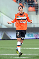 FOOTBALL - FRENCH CHAMPIONSHIP 2012/2013 - L1 - FC LORIENT v AC AJACCIO  - 28/10/2012 - PHOTO PASCAL ALLEE / DPPI - JEREMIE ALIADIER (FCL) CELEBRATE AFTER SCORING THE THIRD GOAL FOR HIS TEAM