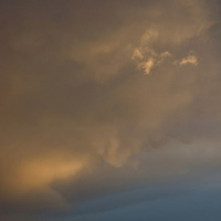 A stormy sunset over mountains in Mongolia's Gobi Desert, near Dalanzadgad.