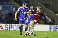 Photo: Pete Lorence/Sportsbeat Images.<br />Leicester City v Burnley. Coca Cola Championship. 10/11/2007.<br />Alan Mahon tackles James Wesolowski.