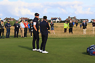 Harry Hall (GB&I) and Conor Gough (GB&I) on the 5th during Day 2 Foursomes of the Walker Cup, Royal Liverpool Golf CLub, Hoylake, Cheshire, England. 08/09/2019.<br /> Picture Thos Caffrey / Golffile.ie<br /> <br /> All photo usage must carry mandatory copyright credit (© Golffile   Thos Caffrey)