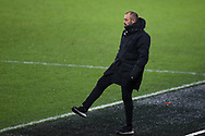 Nuno Espirito Santo, the Wolverhampton Wanderers manager looks on from the touchline. The Emirates FA Cup, 3rd round replay match, Swansea city v Wolverhampton Wanderers at the Liberty Stadium in Swansea, South Wales on Wednesday 17th January 2018.<br /> pic by  Andrew Orchard, Andrew Orchard sports photography.