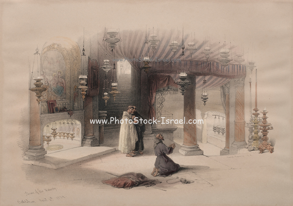 Shrine of the Nativity, Bethlehem 1839 Color lithograph by David Roberts (1796-1864). An engraving reprint by Louis Haghe was published in a the book 'The Holy Land, Syria, Idumea, Arabia, Egypt and Nubia. in 1855 by D. Appleton & Co., 346 & 348 Broadway in New York.