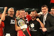 Boxing: Cruiserweight, WBO European Championship, Nuri Seferi (ALB) - Tamas Lodi (HUN), Hamburg, 16.05.2014<br /> Nuri Seferi (ALB) and coach Oktay Urkal (c.) and  Alexander Alexeev (r.) celebrates<br /> ©Torsten Helmke