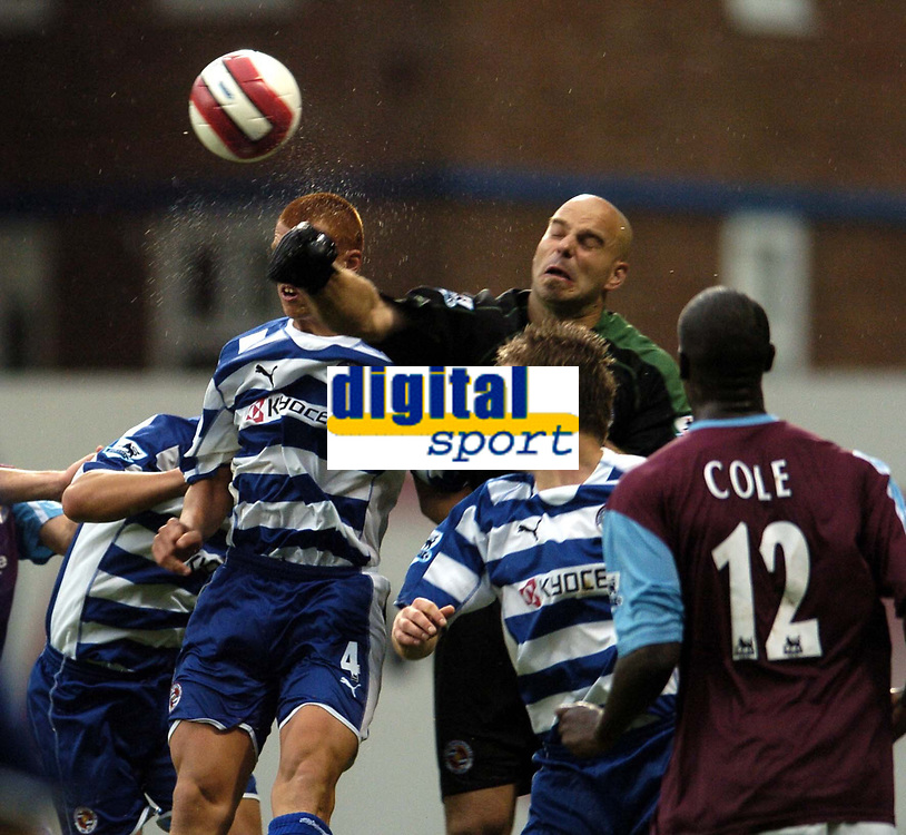 Photo: Olly Greenwood.<br />West Ham United v Reading. The Barclays Premiership. 01/10/2006. Reading's Marcus Hahenemann pushes the ball clear