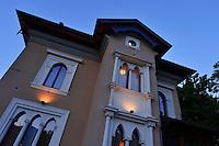 Hotel in Pescasseroli. The Central Apennines rewilding area, Italy, in and around the Abruzzo, Lazio e Molise National Park.