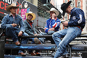 15 October 2010-New York, NY- l to r: Ryan McConnel, Robson Palermo, Silvano Alves, and Travis Briscoe at the The Professional Bull Riders' (PBR) Compettion in the Built Ford Tough Road to Las Vegas Series presented by Cooper Tires and held in New York's Times Square on October 15, 2010 in New York City. ..The Times Square competition is a special prelude event to the 2010 PBR World Finals. The 2010 PBR Ford Tough World Finals will take place October 20-24 in Las Vegas, where the coveted PBR Championship Buckle and a $1 Million bonus are up for grabs. Photo Credit: Terrence Jennings