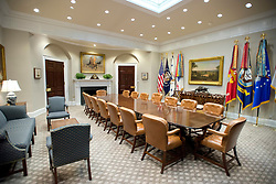 Very high resolution view of the newly renovated interior of the Roosevelt Room in the White House in Washington, DC on Tuesday, August 22, 2017. When seated at the table, the President's chair is the larger one in the center of the table in front of the American Flag. The doorway that leads to the hallway across from the Oval Office is the one on the right in the background near the center of the photo. The carpet is new. 22 Aug 2017 Pictured: Very high resolution view of the newly renovated interior of the Roosevelt Room in the White House in Washington, DC on Tuesday, August 22, 2017. When seated at the table, the President's chair is the larger one in the center of the table in front of the American Flag. The doorway that leads to the hallway across from the Oval Office is the one on the right in the background near the center of the photo. The carpet is new. Credit: Ron Sachs / CNP. Photo credit: Ron Sachs - CNP / MEGA TheMegaAgency.com +1 888 505 6342
