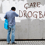 "Slogan on the wall by for turkish soccer team Galatasaray player ""Drogba is the only cure""... Turkish riot police use water cannon to disperse protestors during an anti-government protest at Taksim Square in Istanbul, Turkey, 06 July 2013. Photo by AYKUT AKICI/TURKPIX"