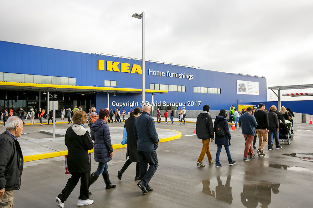 Customers enter at the grand opening of the new Ikea in Burbank. The new Ikea store comes in at 456,000 sf, compared to the old one at 242,000 sf. And 1,700 parking places.  Feb. 8, 2017  Photo by David Sprague