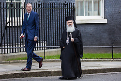 London, UK. 29 January, 2020. Greek Orthodox leader Theophilos III (r), head bishop in the Greek Orthodox Church in Jerusalem, arrives at 10 Downing Street for a meeting.