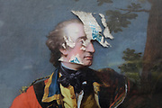 A detail a spoiled poster painting of Colonel William Gordon of Fyvie by Pompeo Batoni, outside the National Museum of Scotland where the exhibition 'Wild and Majestic' about Scotland's Romantic art movement of the 18th and early 19th century is currently being exhibited, in Edinburgh, on 25th June 2019, in Edinburgh, Scotland.