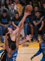 February 8, 2018 - Los Angeles, California, U.S - Brook Lopez #11 of the Los Angeles Lakers drives to the basket during their NBA game with the Oklahoma Thunder on Thursday February 8, 2018 at the Staples Center in Los Angeles, California. Lakers defeat Thunder, 106-81. (Credit Image: © Prensa Internacional via ZUMA Wire)