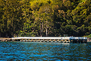 Prisoners Harbor pier, Santa Cruz Island, Channel Islands National Park, California USA