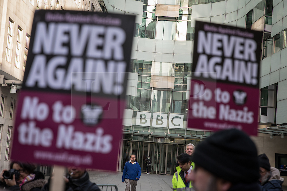 © Licensed to London News Pictures. 13/11/2016. London, UK. Unite Against Fascism hold a demonstration outside BBC Broadcasting House ahead of The Andrew Marr show screening a pre-recorded interview with far-right politician Marine Le Pen, who associates with Le Front National (The National Front). Photo credit : Tom Nicholson/LNP