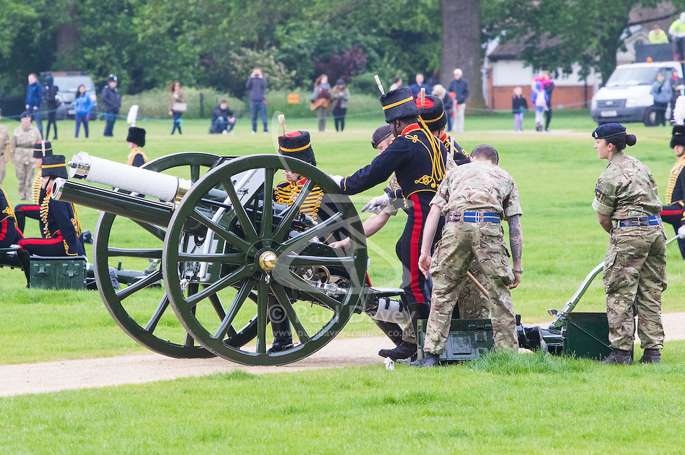 Hyde Park, London, June 2nd 2016. Soldiers and guns of the King's Troop Royal Horse Artillery fire a 41 round Royal Salute to mark the 63rd anniversary of the coronation of Britain's Monarch HM Queen Elizabeth II. PICTURED: A technical hitch puts one gun out of action.