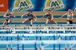 Anouk Vetter, Zoe Sedney, Nadine Visser in action on the 60 meter hurdles during AA Drink Dutch Athletics Championship Indoor on 21 February 2021 in Apeldoorn.