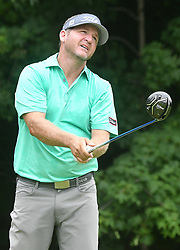 July 15, 2018 - Silvis, Illinois, U.S. - SILVIS, IL - JULY 15:  Jason Bohn reacts after hitting his tee shot on the #2 hole during the final round of the John Deere Classic on July 15, 2018, at TPC Deere Run, Silvis, IL.  (Photo by Keith Gillett/Icon Sportswire) (Credit Image: © Keith Gillett/Icon SMI via ZUMA Press)