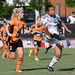 BRISBANE, AUSTRALIA - JANUARY 1: Gulcan Koca of the Victory controls the ball in front of Amy Chapman of the Roar during the round 10 Westfield W-League match between the Brisbane Roar and Melbourne Victory at AJ Kelly Park on January 1, 2017 in Brisbane, Australia. (Photo by Patrick Kearney/Brisbane Roar)