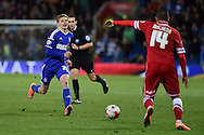 Teddy Bishop of Ipswich Town (l) in action.Skybet football league championship match, Cardiff city v Ipswich Town at the Cardiff city stadium in Cardiff, South Wales on Tuesday 21st October 2014<br /> pic by Andrew Orchard, Andrew Orchard sports photography.