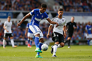 Ipswich Town defender Jordan Spence (12) clears the ball during the EFL Sky Bet Championship match between Ipswich Town and Fulham at Portman Road, Ipswich, England on 26 August 2017. Photo by Phil Chaplin.